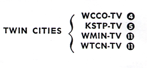 TV Guide listing showing two Channel 11s, WMIN & WTCN